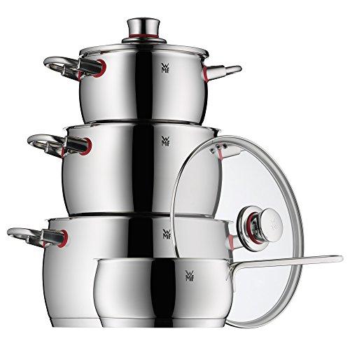 WMF Quality One - Batería de cocina, 4 piezas, cazo Ø16cm (1,7 litros), 3 cazuelas altas Ø16cm (2,0 litros), Ø20cm (4,1 litros) y Ø24cm (6,8 litros) con tapa