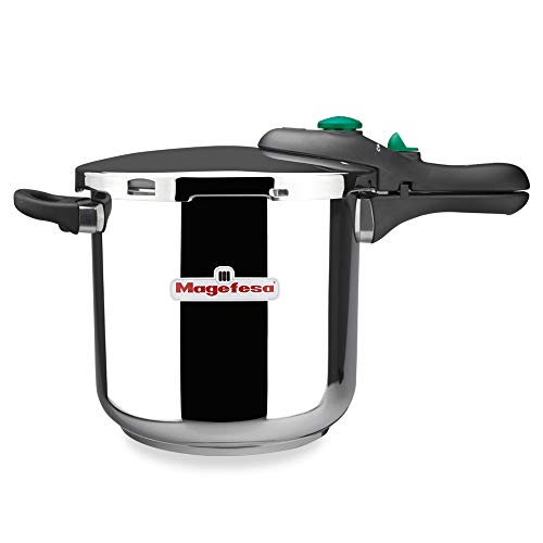 MAGEFESA Dynamic Olla a presión Super rápida de fácil Uso, Acero Inoxidable 18/10, Apta para Todo Tipo de cocinas, Incluido inducción. (6L)