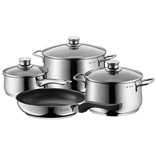 WMF Diadem Plus–Juego de ollas de cocina de inducción antiadherente de 4 piezas, con tapas, color plata, 3 1 sartén (730276040)